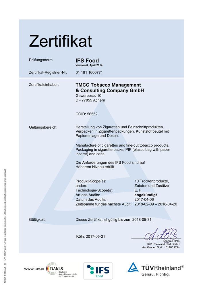 TMCC - IFS Zertifikat